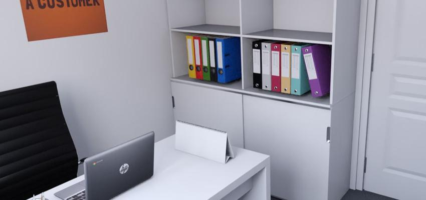 Oficina Estilo contemporaneo Color blanco, gris, gris  diseñado por REFORM4DO | Gremio | Copyright REFORM4DO
