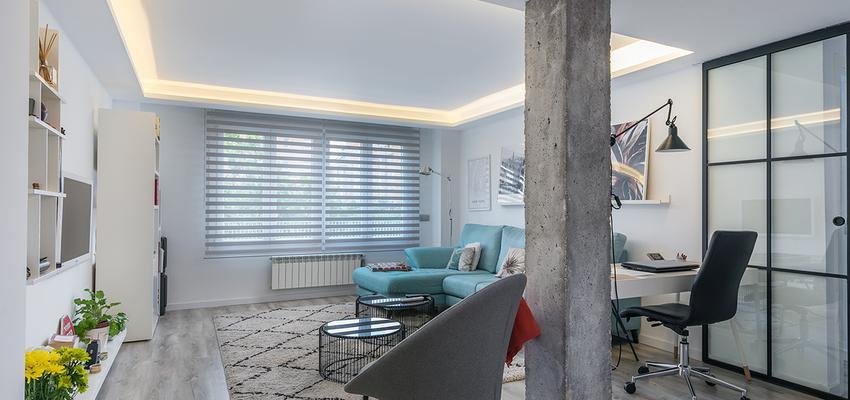 Comedor, Sala de la TV, Oficina Estilo moderno Color turquesa, blanco, gris  diseñado por altia group S.L.U. | Gremio | Copyright altia Group