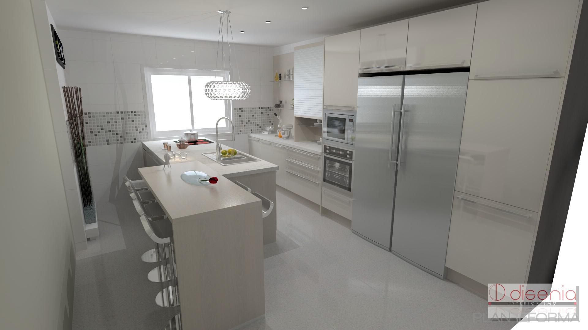 Comedor cocina estilo moderno color beige blanco plateado for Cocina estilo moderno