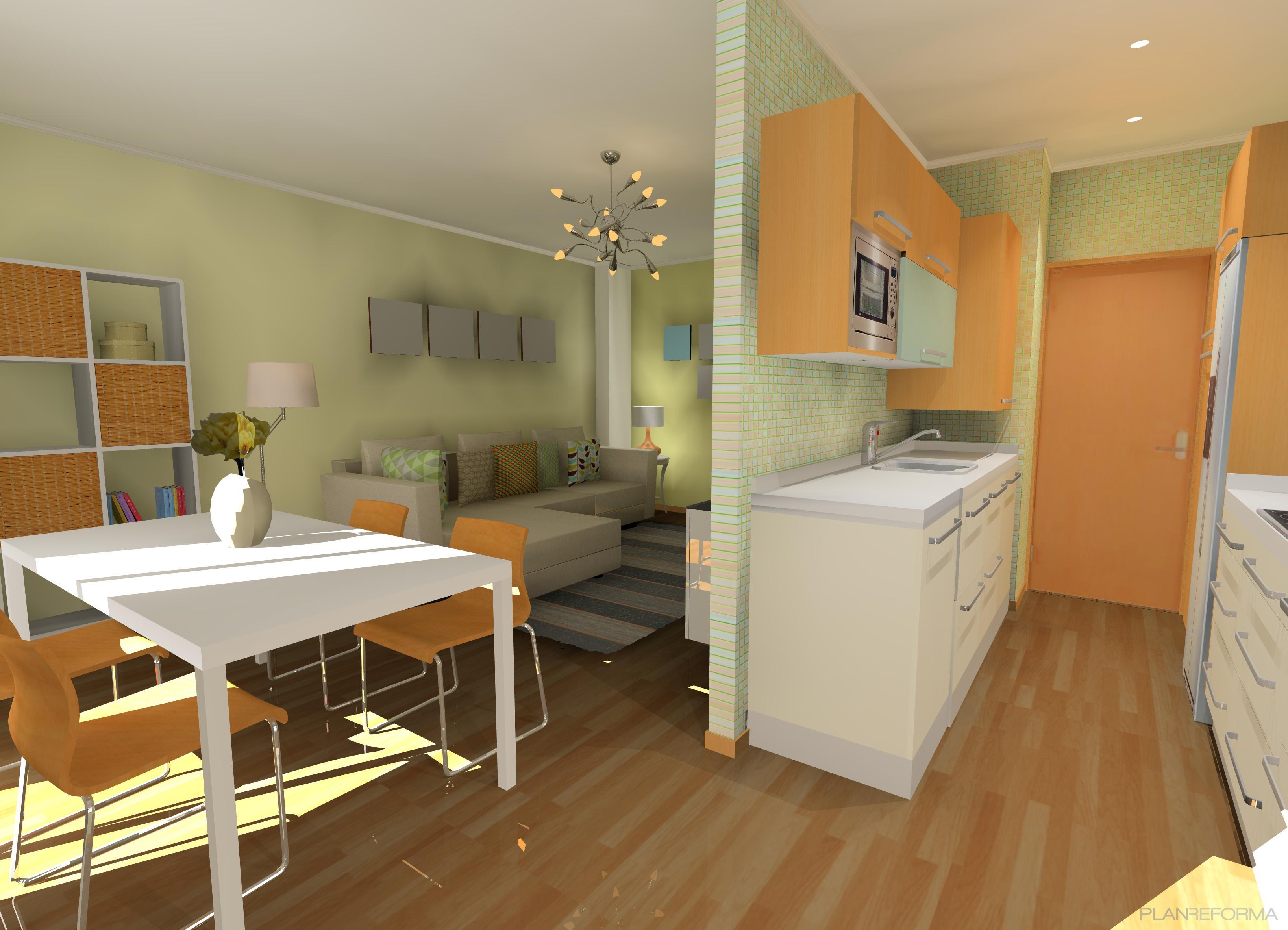 Comedor, Cocina, Salon Estilo contemporaneo Color ocre, verde, plateado