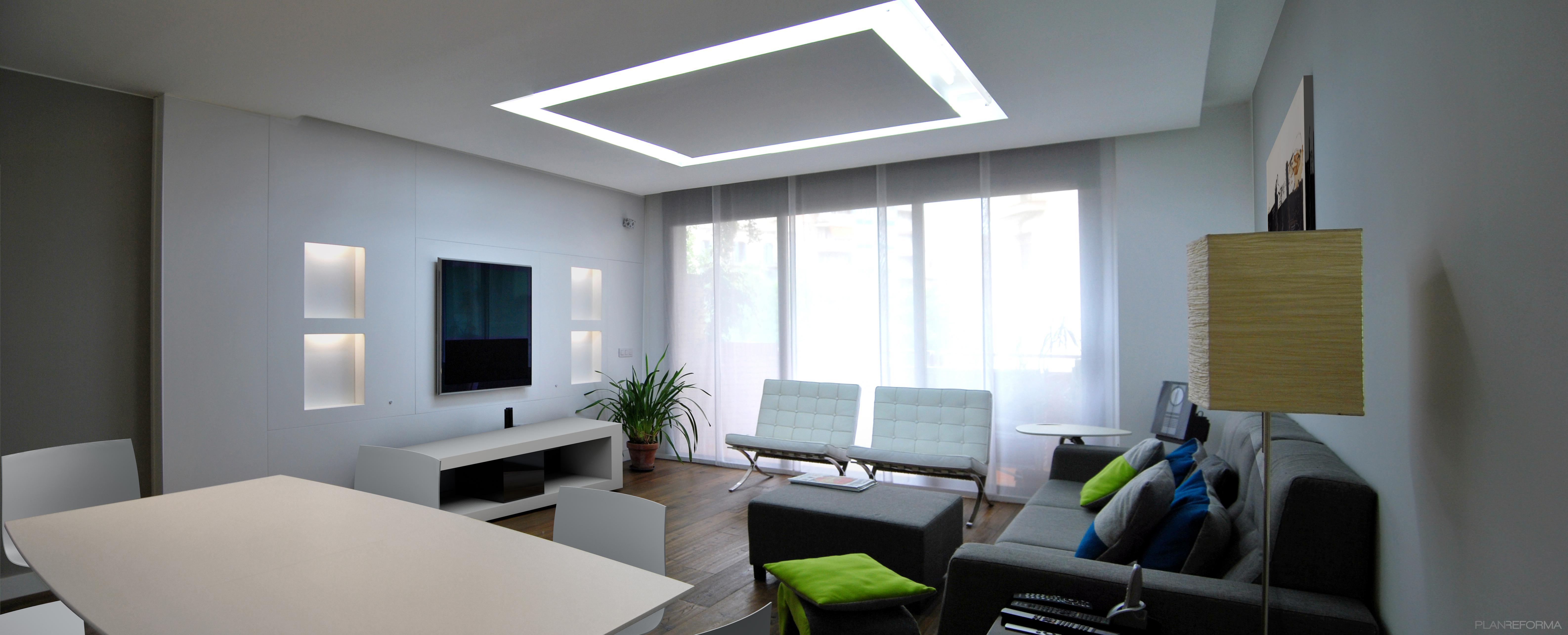Comedor, Salon style contemporaneo color azul cielo, beige, marron, marron, blanco  diseñado por DIAGONARC   Arquitecto   Copyright todos los derechos son de DIAGONARC SCP