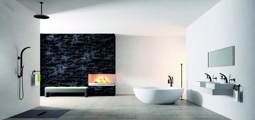 Baño style moderno color blanco, gris, negro  diseñado por GROHE | Marca colaboradora | Copyright GROHE