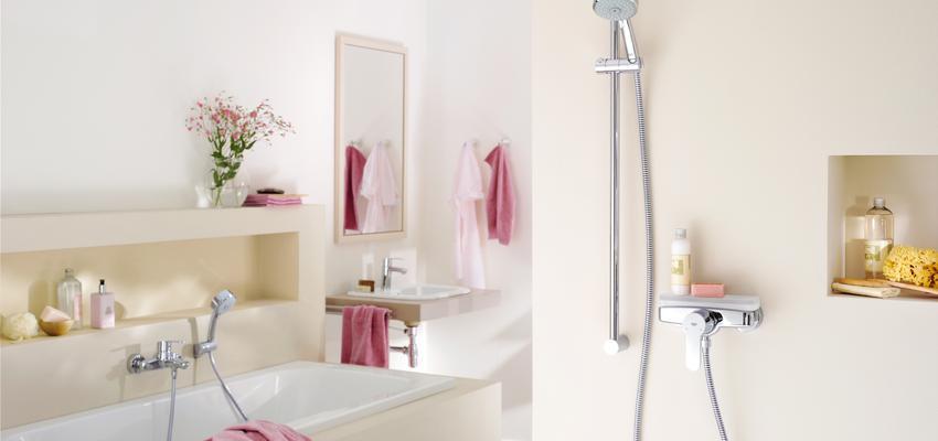 Baño style contemporaneo color rosa, rosa, beige  diseñado por GROHE | Marca colaboradora | Copyright GROHE