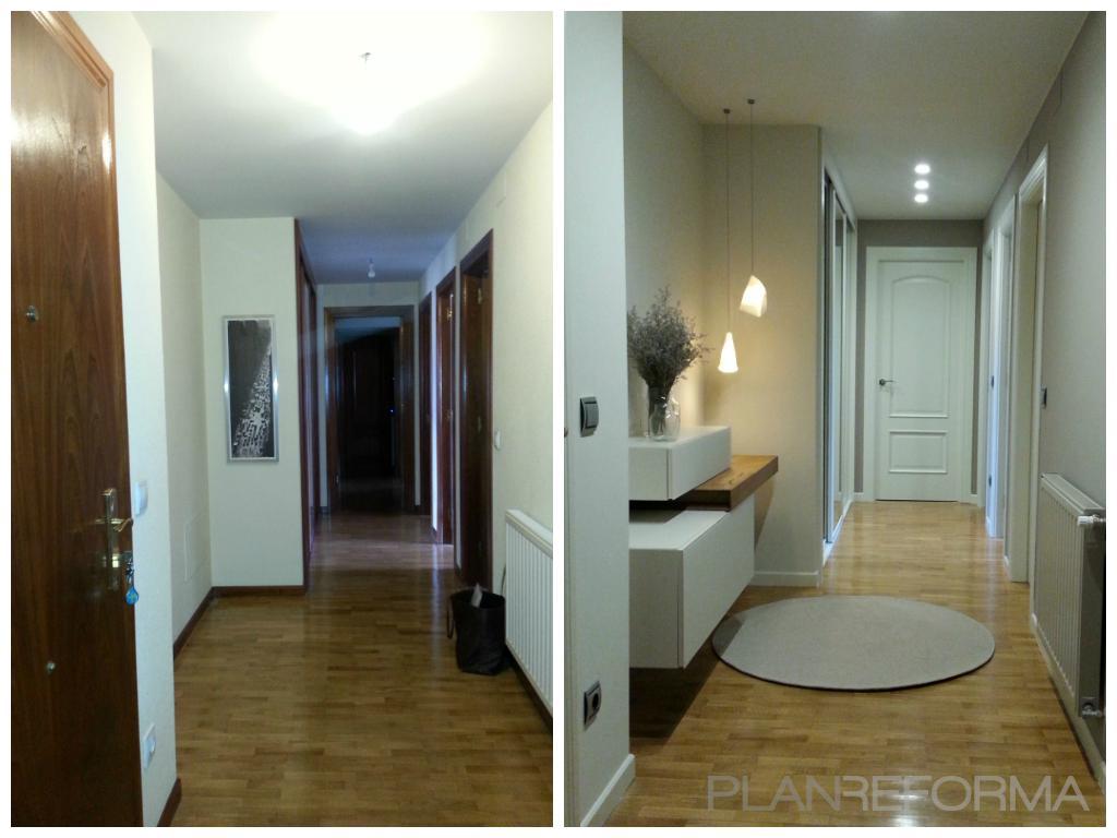 Vestibulo pasillo estilo moderno color marron blanco - Decorar un recibidor moderno ...
