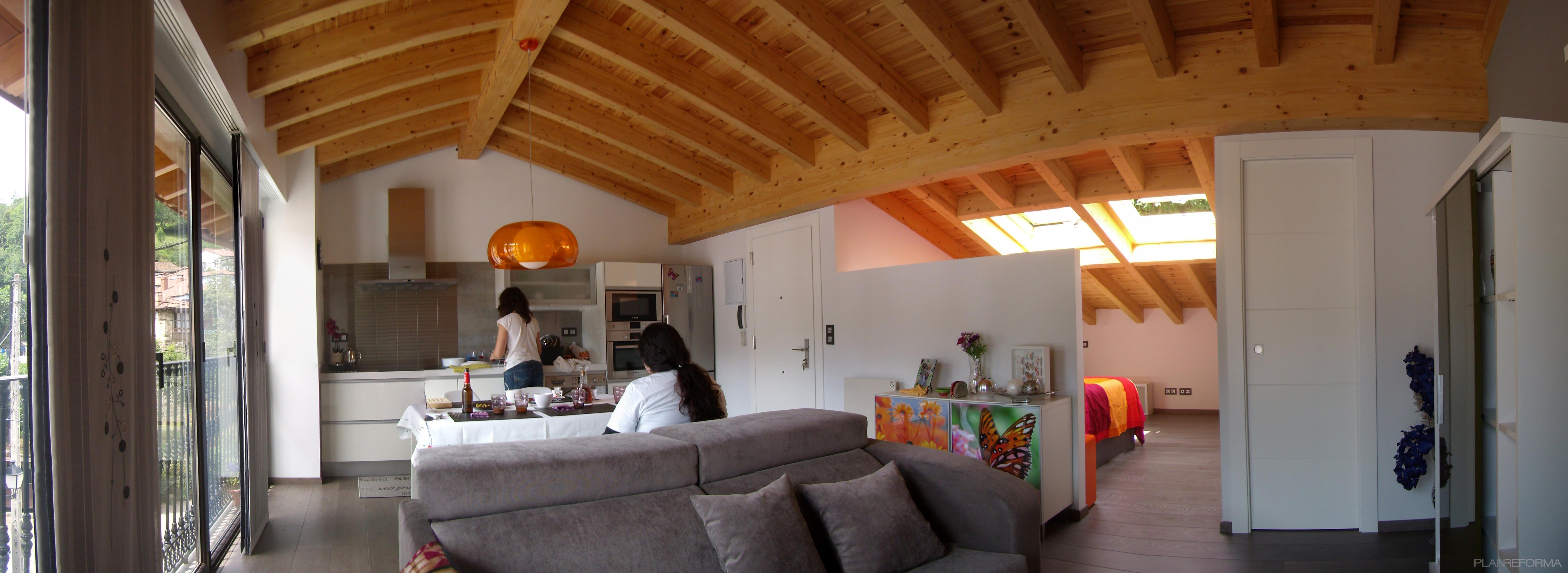 Comedor cocina salon loft estilo moderno color marron for Comedor estilo moderno