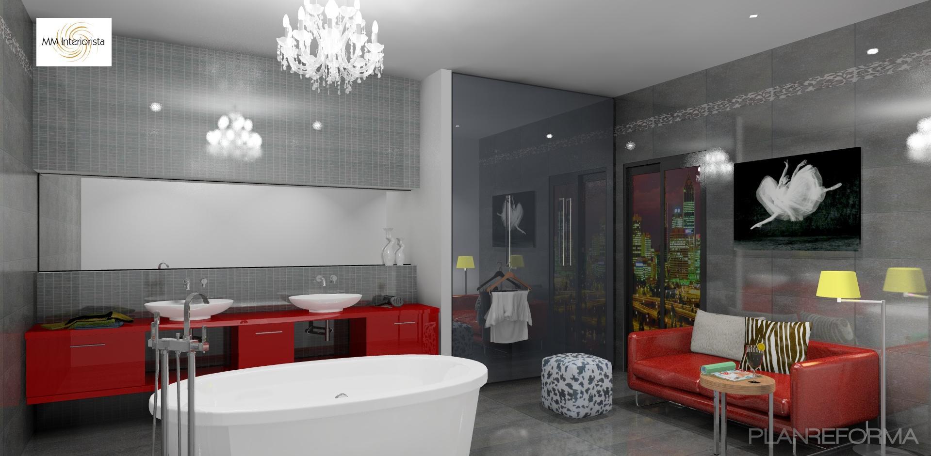 Ba o style vanguardista color rojo rosa blanco gris for Decoracion casa rojo