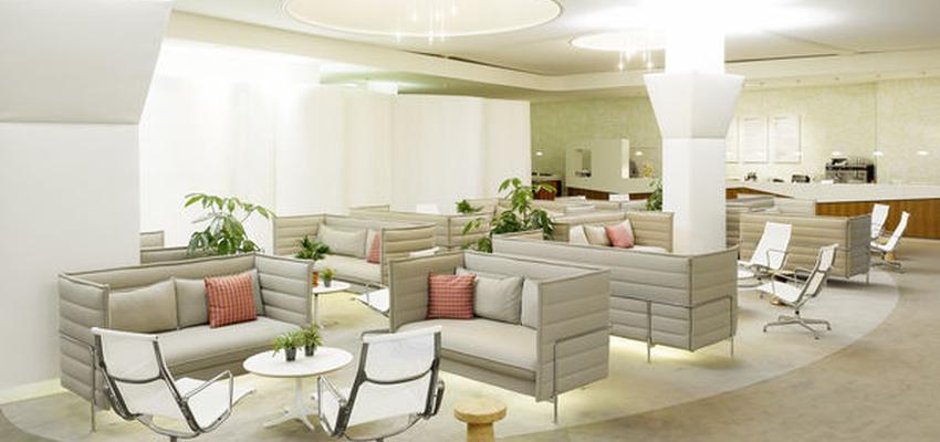 Restaurante style moderno color rojo, verde, beige, blanco  diseñado por VITRA | Marca colaboradora | Copyright Vitra