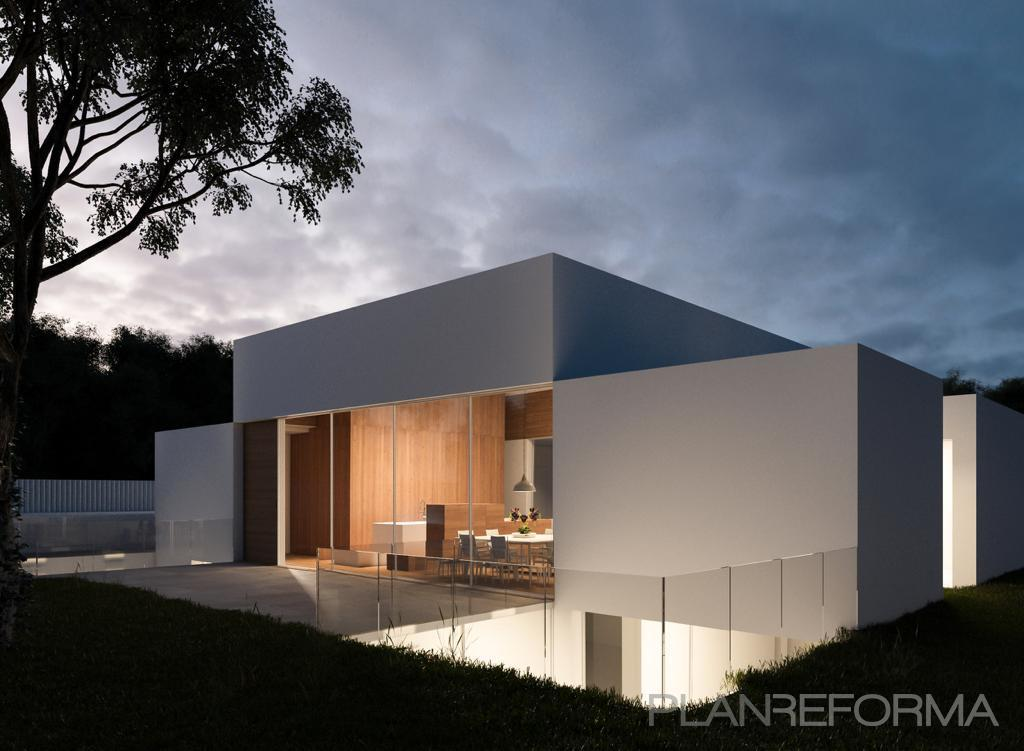 Terraza, Exterior, Jardin Estilo moderno Color blanco  diseñado por Pamar Arq. & Const. | Gremio | Copyright Pamar Arq. & Const.