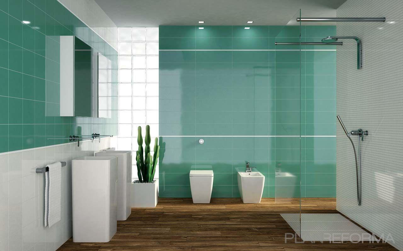 Ba o style moderno color turquesa marron plateado - Baldosas banos modernos ...