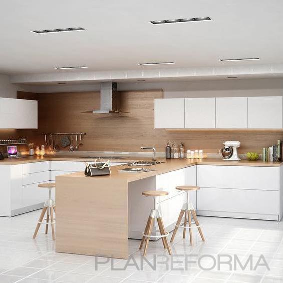 Cocina Estilo moderno Color beige, blanco  diseñado por studio zentro cocinas | Gremio | Copyright Studio Zentro