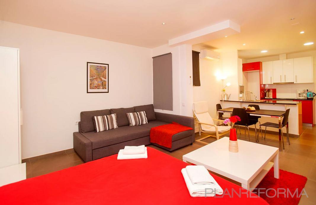 Comedor cocina salon estilo moderno color rojo beige - Cocina salon comedor ...