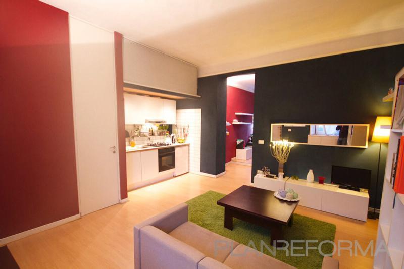 Comedor, cocina style contemporaneo color rojo, beige, blanco, negro