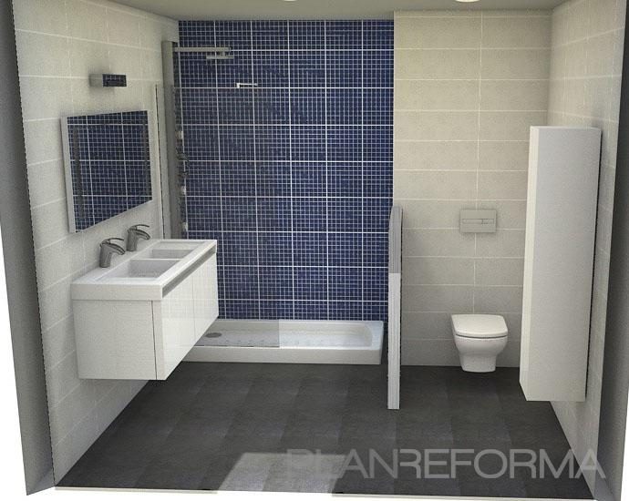 Ba o style contemporaneo color azul oscuro blanco gris - Banos en azul y blanco ...
