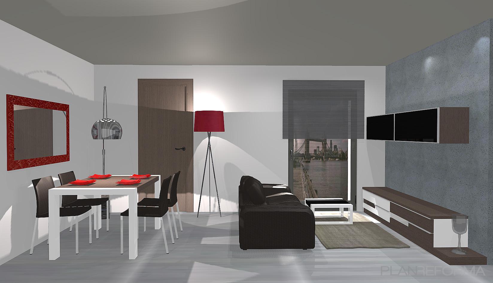 Comedor salon style contemporaneo color rojo gris negro for Comedor contemporaneo