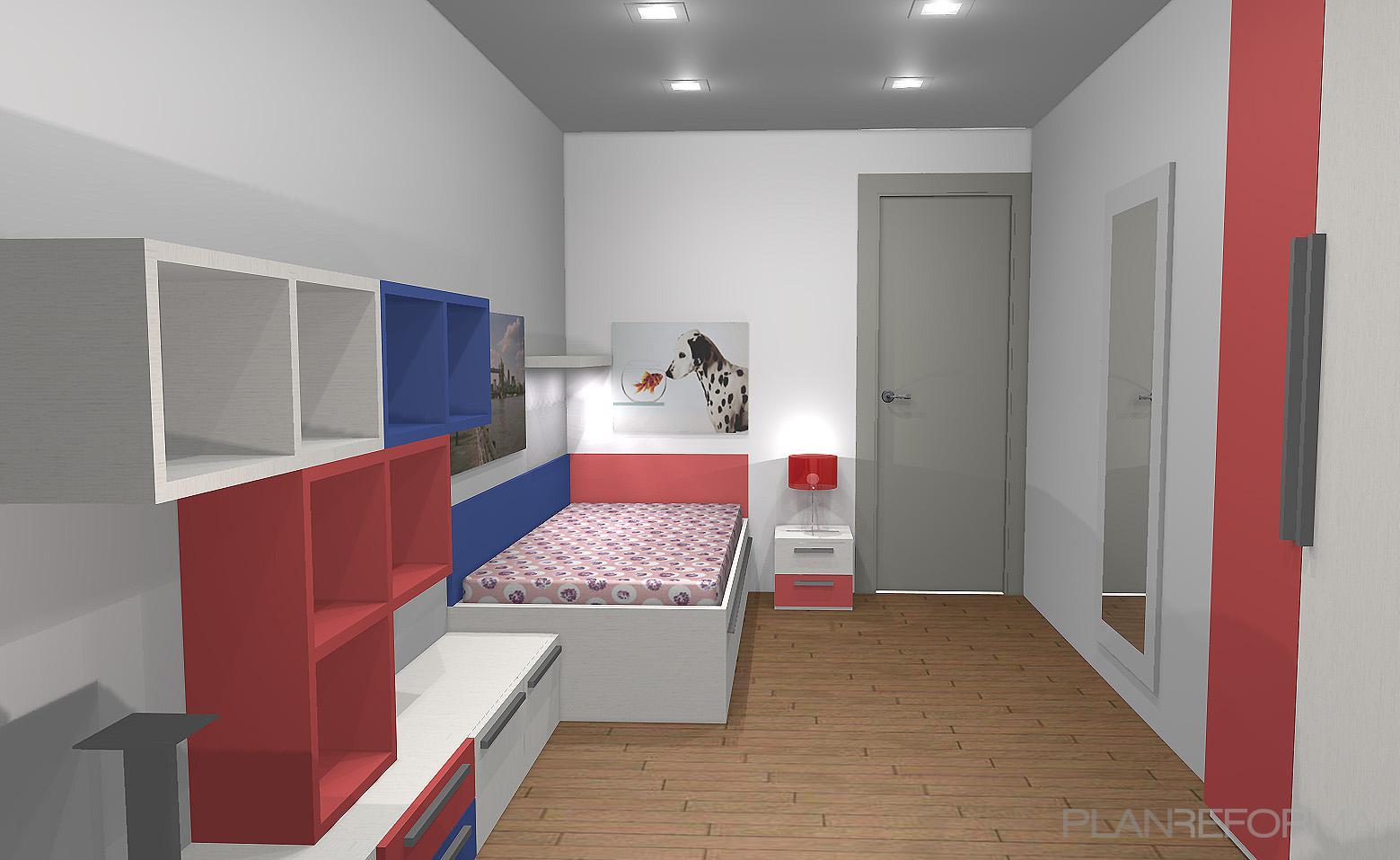 Dormitorio style contemporaneo color rojo azul oscuro gris for Dormitorio oscuro