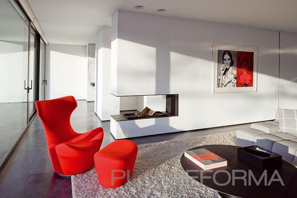 Salon style moderno color rojo blanco negro - Salon moderno blanco ...