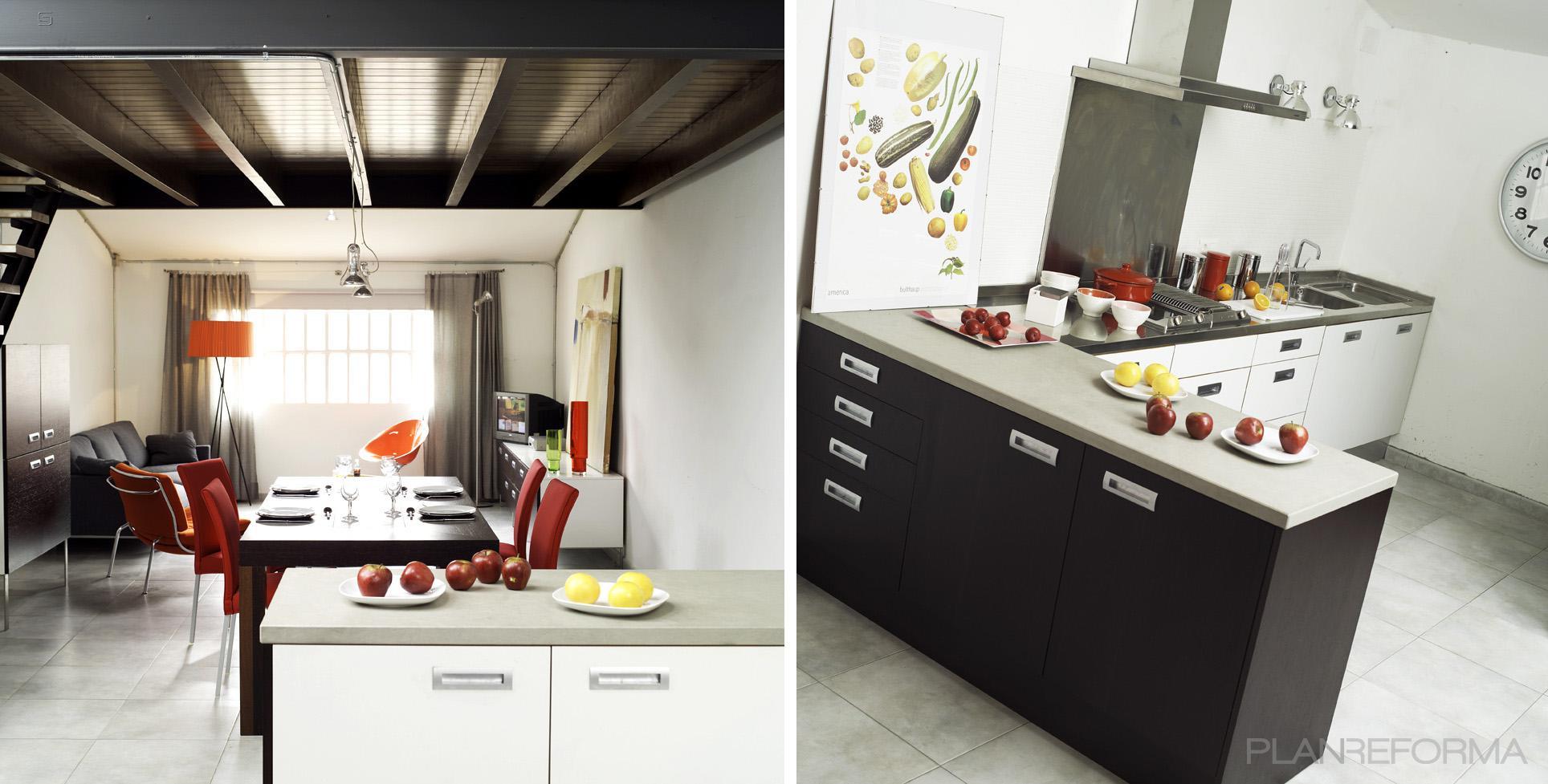 Comedor, Cocina, Salon style moderno color rojo, marron, gris, gris