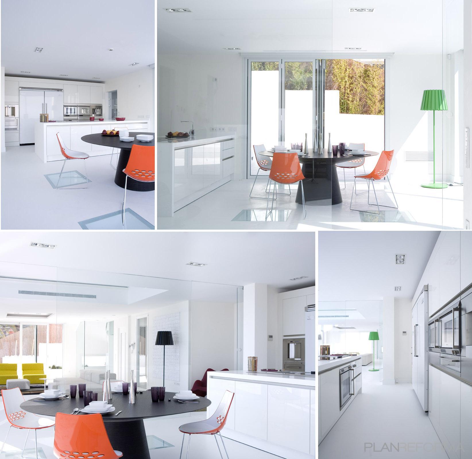 Comedor cocina salon style moderno color blanco gris for Cocina comedor salon