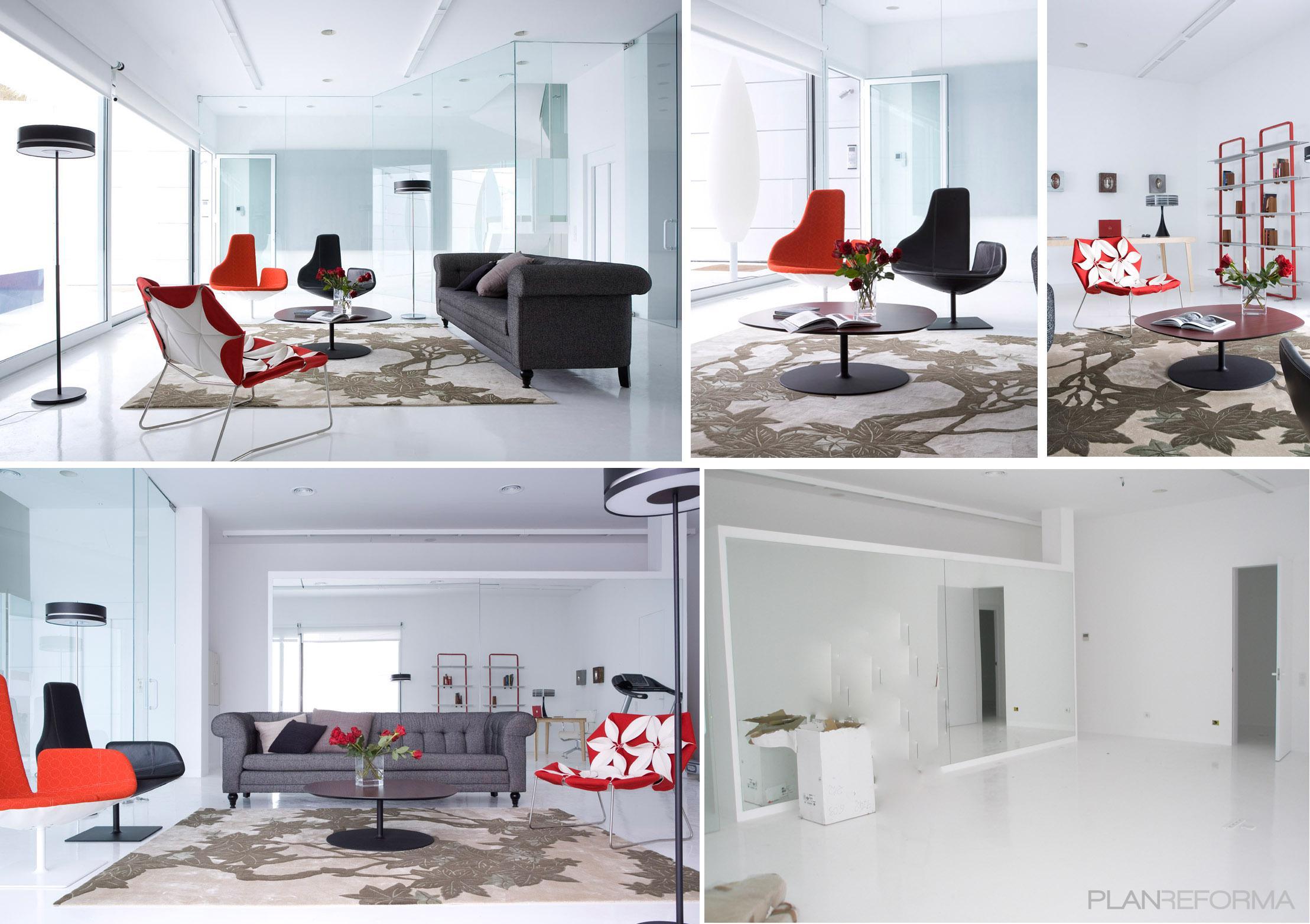 Salon style moderno color rojo blanco gris - Salon moderno blanco ...