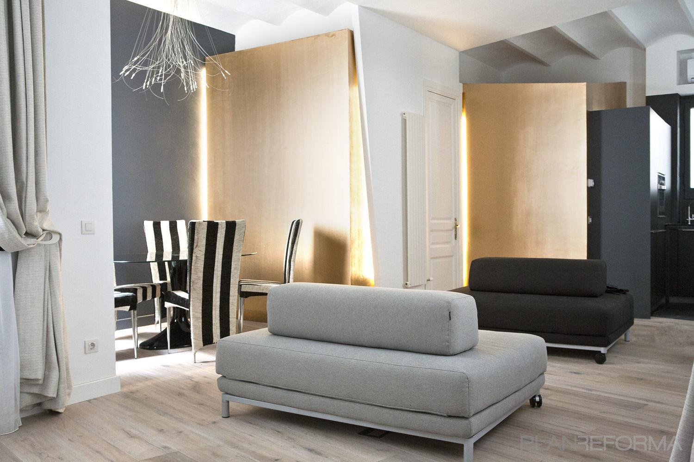 Comedor salon loft style moderno color beige beige for Comedor gris moderno