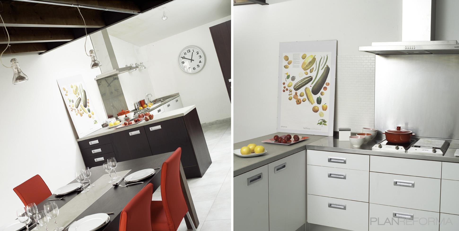 Comedor cocina style moderno color marron gris for Comedor gris moderno