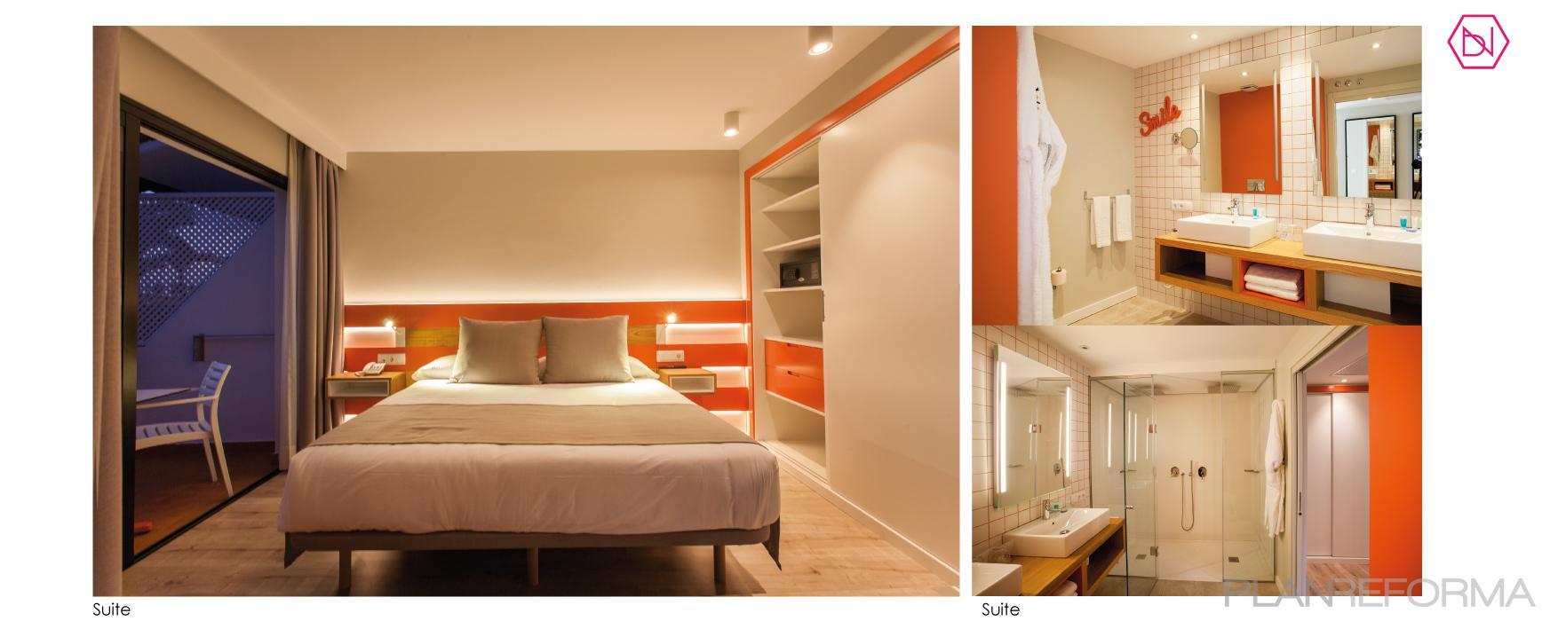 Baño, Dormitorio, Hotel style contemporaneo color rojo ...