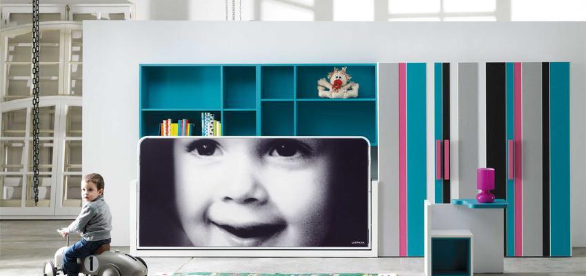 Dormitorio, Niños style moderno color azul, rosa, blanco, gris, negro  diseñado por MUEBLES LAGRAMA   Marca colaboradora   Copyright Lagrama