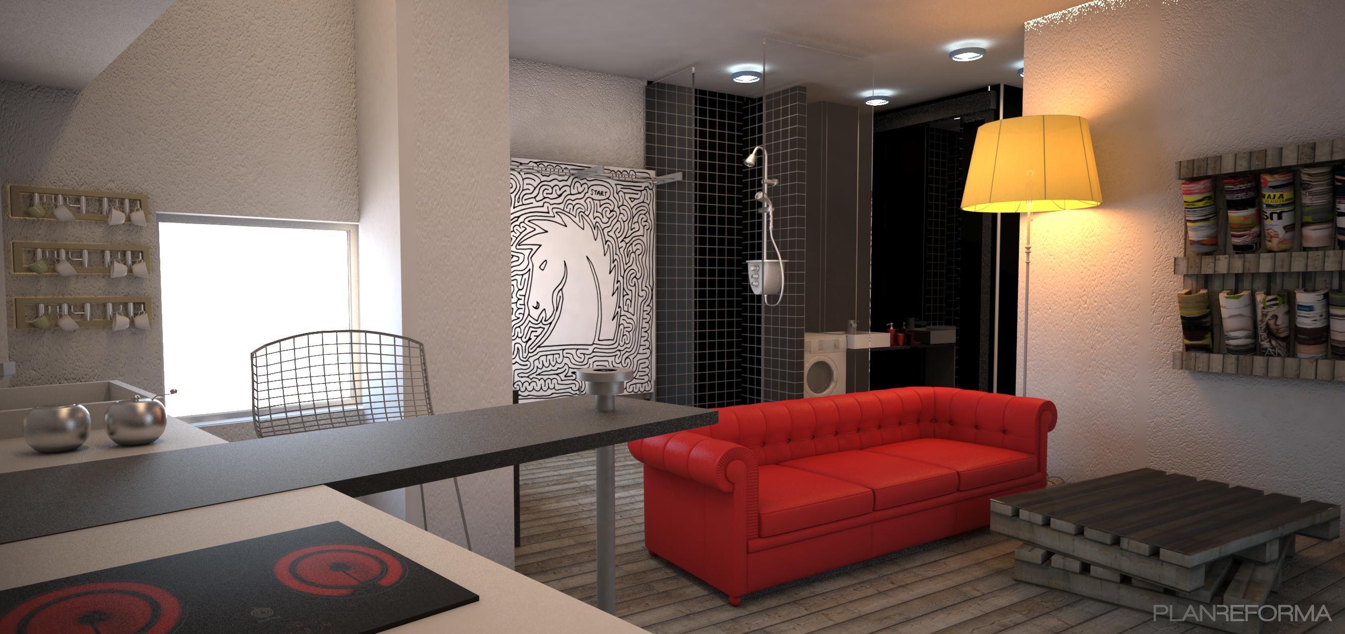 Comedor cocina salon style moderno color rojo negro - Cocina salon comedor ...