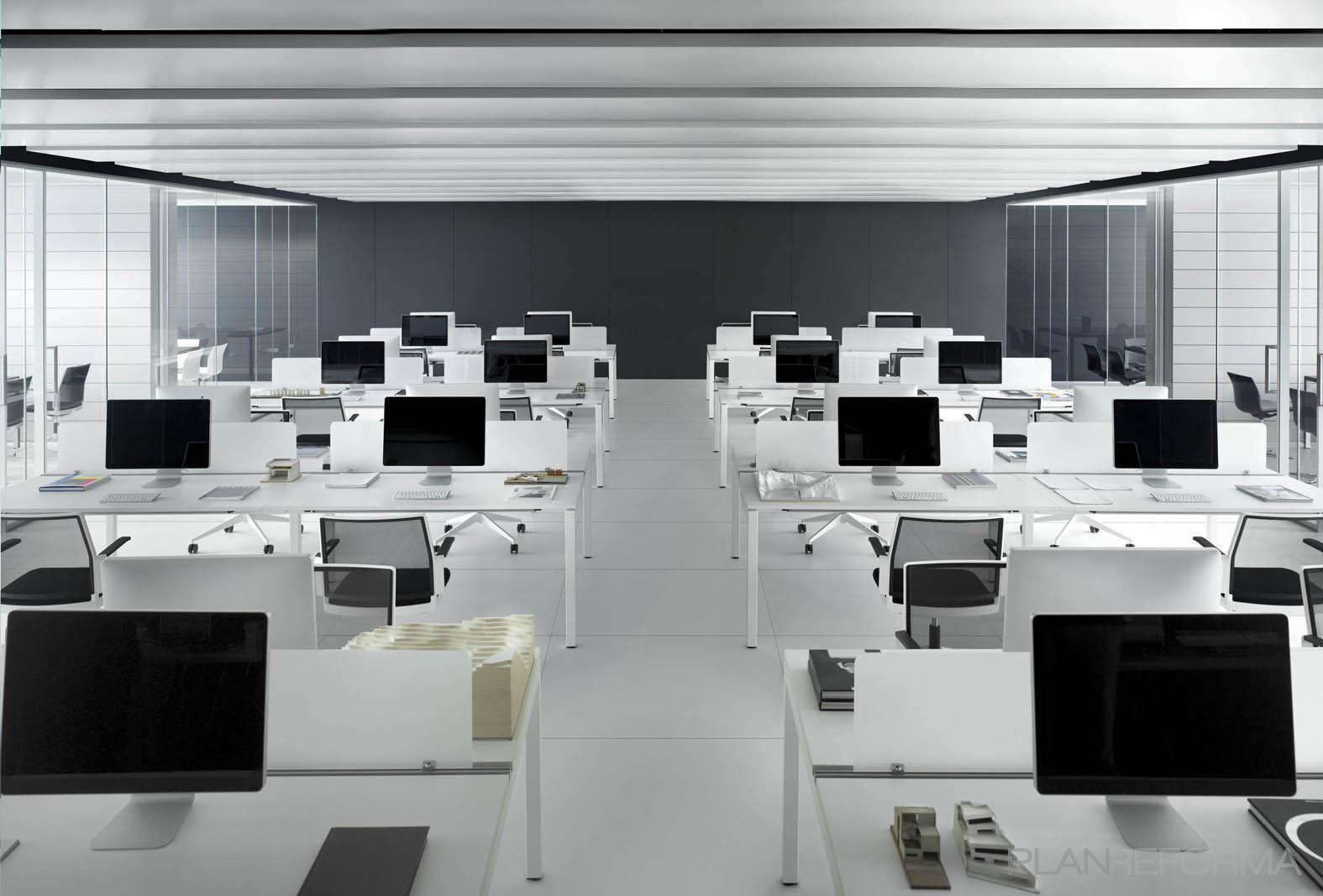 Oficina style moderno color blanco gris for Equipamiento para oficinas