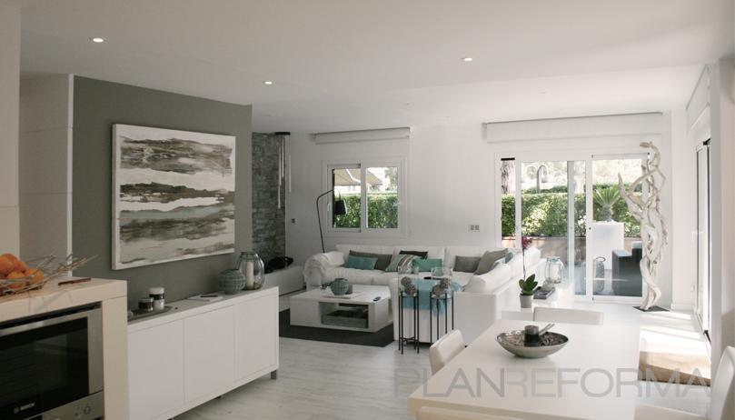 Comedor salon patio estilo moderno color beige blanco - Salon moderno blanco ...