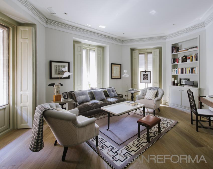 Salon Estilo contemporaneo Color marron, marron, blanco  diseñado por Nimú, equipo de diseño | Interiorista | Copyright Fotos de Nimú, equipo de diseño
