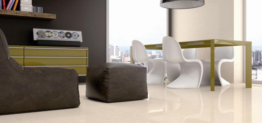 Salon style moderno color verde, beige, marron, blanco  diseñado por keraben | Marca colaboradora | Copyright Keraben