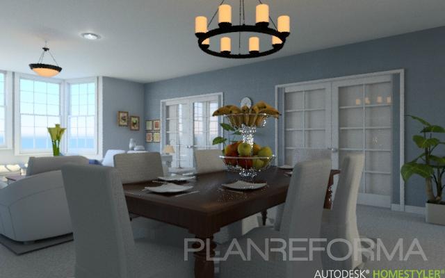 Comedor style contemporaneo color azul cielo beige for Estilo clasico contemporaneo