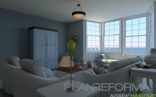 Salon Estilo contemporaneo Color azul cielo, beige, blanco  diseñado por MGC Diseño de Interiores | Interiorista