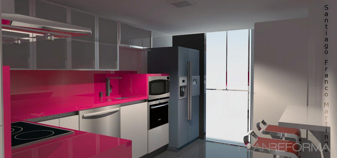 Cocina style moderno color rosa beige blanco gris for Cocinas modernas color blanco