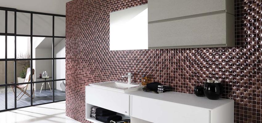Baño style moderno color rojo, rosa, blanco, gris  diseñado por PORCELANOSA | Marca colaboradora | Copyright porcelanosa