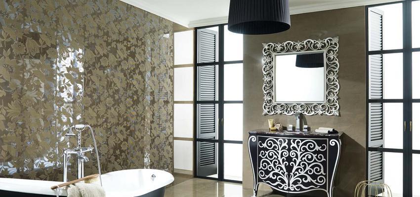 Baño style clasico color marron, beige, negro, plateado  diseñado por PORCELANOSA   Marca colaboradora   Copyright porcelanosa