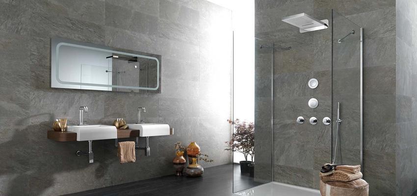 Baño style contemporaneo color marron, marron, blanco, gris  diseñado por PORCELANOSA | Marca colaboradora | Copyright porcelanosa