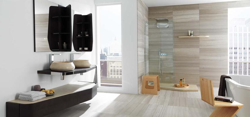 Baño style contemporaneo color beige, blanco, gris, negro  diseñado por PORCELANOSA | Marca colaboradora | Copyright porcelanosa