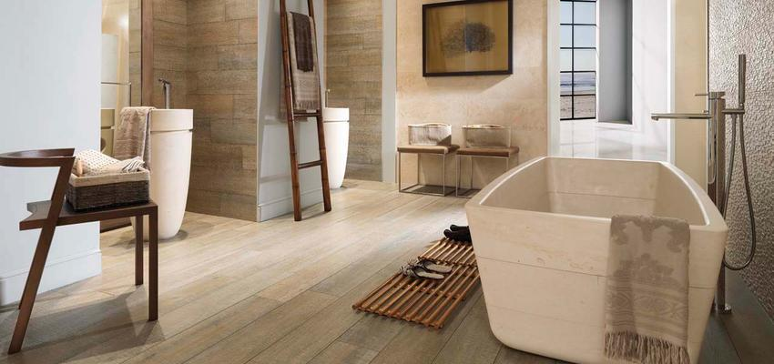 Baño Estilo contemporaneo Color marron, beige, marron, blanco  diseñado por PORCELANOSA | Marca colaboradora | Copyright porcelanosa