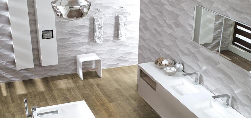 Baño style moderno color marron, blanco, plateado  diseñado por PORCELANOSA   Marca colaboradora   Copyright porcelanosa