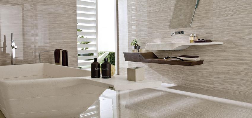 Baño Estilo moderno Color beige, marron, beige  diseñado por PORCELANOSA | Marca colaboradora | Copyright porcelanosa