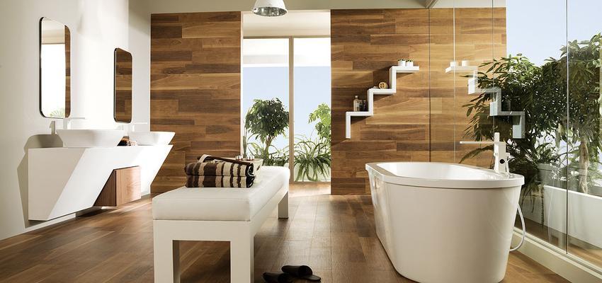 Baño style contemporaneo color marron, marron, blanco  diseñado por PORCELANOSA   Marca colaboradora   Copyright porcelanosa