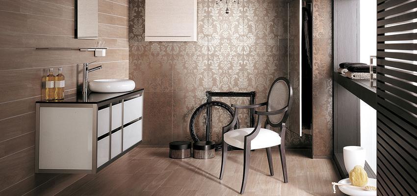 Baño style clasico color marron, marron, plateado, bronce  diseñado por PORCELANOSA | Marca colaboradora | Copyright porcelanosa