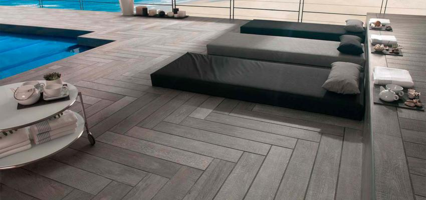 Exterior style contemporaneo color azul, marron, gris, gris  diseñado por PORCELANOSA | Marca colaboradora | Copyright porcelanosa