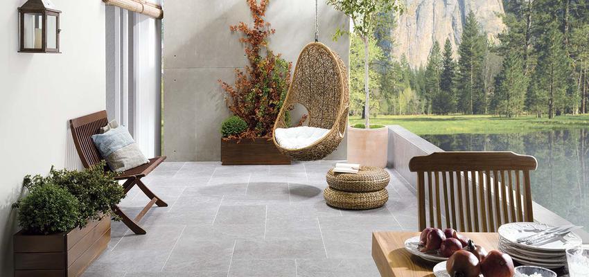 Exterior style contemporaneo color marron, verde, marron, gris  diseñado por PORCELANOSA | Marca colaboradora | Copyright porcelanosa