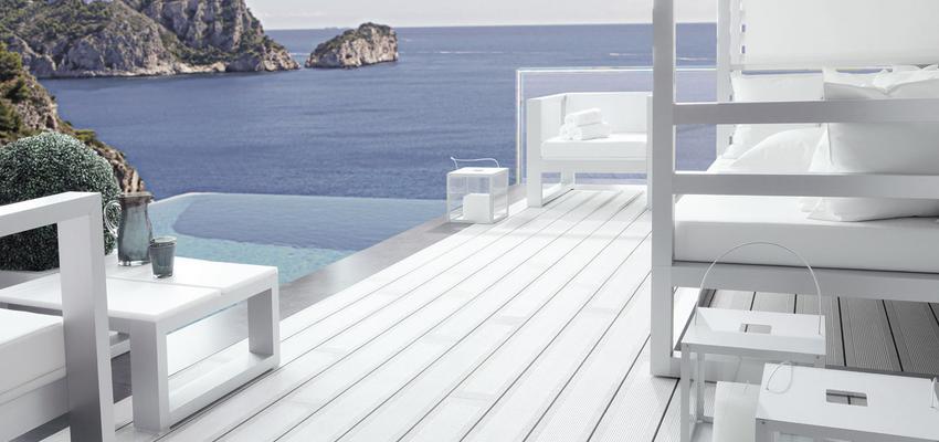 Exterior Estilo contemporaneo Color turquesa, blanco, gris, plateado  diseñado por PORCELANOSA | Marca colaboradora | Copyright porcelanosa