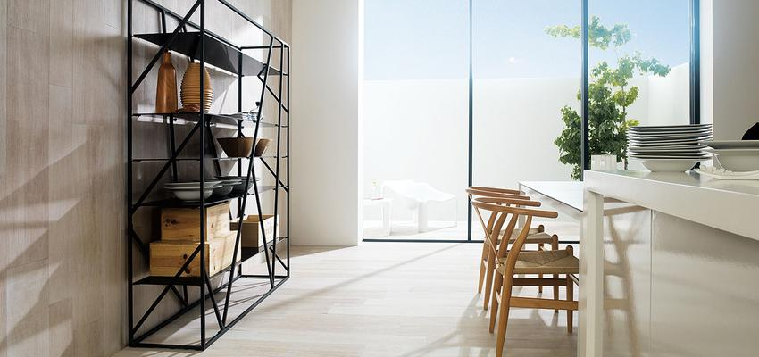 Cocina style contemporaneo color ocre, beige, blanco, negro  diseñado por PORCELANOSA   Marca colaboradora   Copyright porcelanosa
