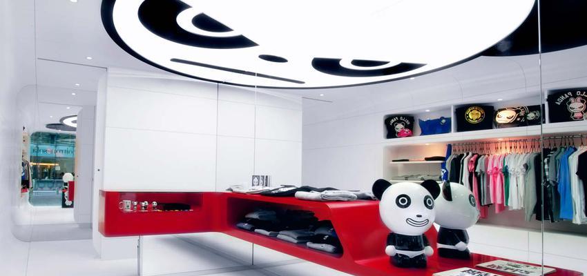 Tienda style moderno color rojo, blanco, negro, plateado  diseñado por PORCELANOSA   Marca colaboradora   Copyright porcelanosa