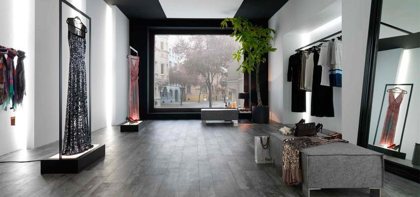 Tienda style moderno color rosa, turquesa, violeta, blanco, gris, gris, negro  diseñado por PORCELANOSA | Marca colaboradora | Copyright porcelanosa